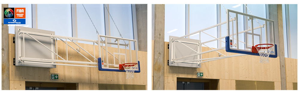 Wall-mounted up-folding basketball goals - Schelde Sports